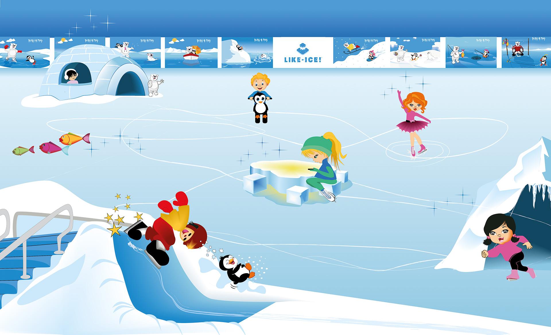 Illustration Bärenland mit Marken Figuren Bubu & Ping