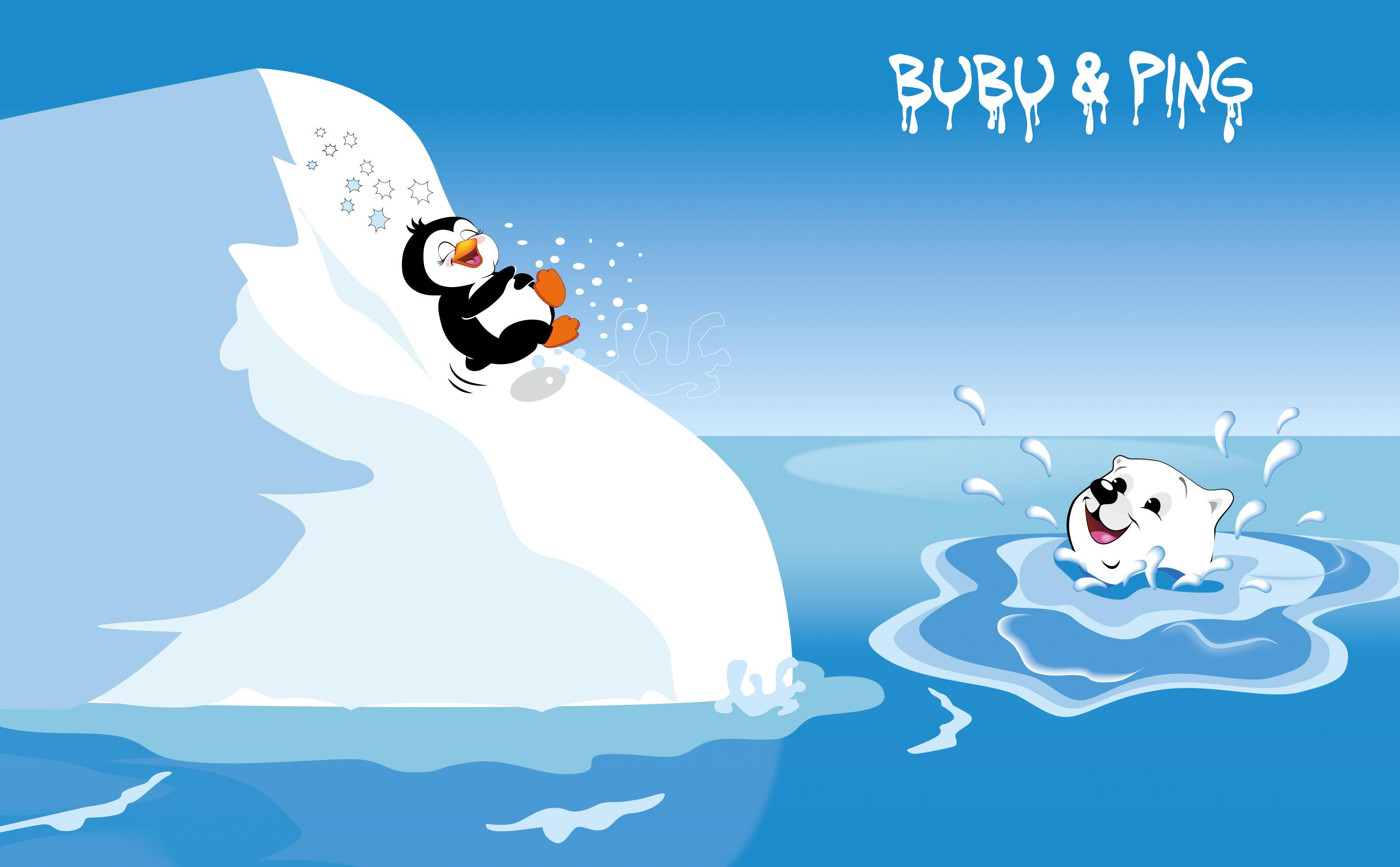 Illustration Eisbär und Pinguin beim Eisbergrutschen für LikeIce Kunsteis Bärenland für Kinder