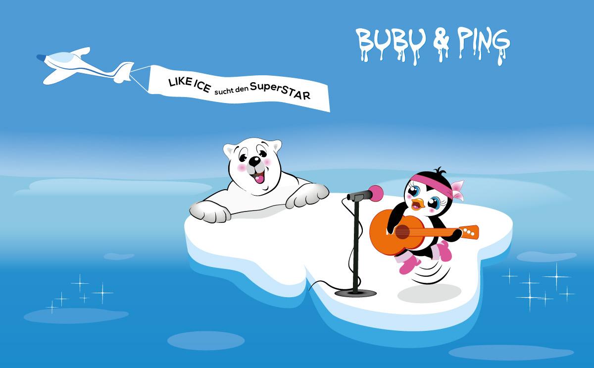 Illustration Markenfiguren Bubu und Ping