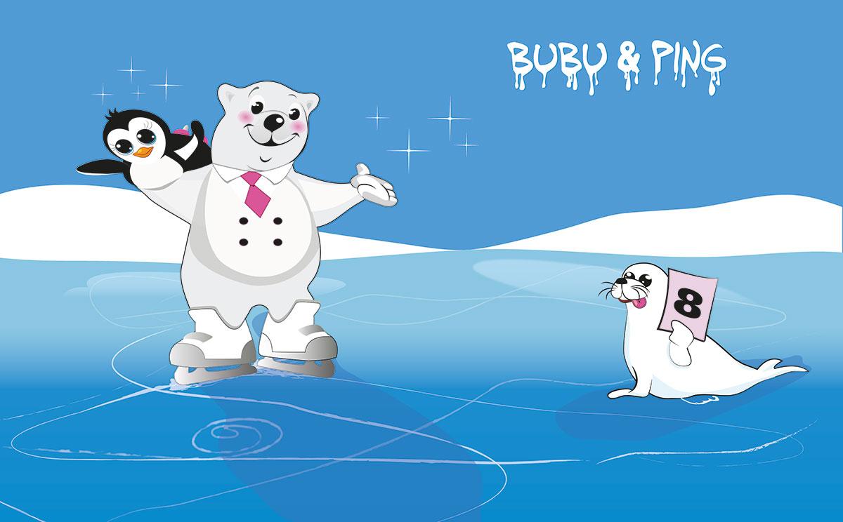 Bubu & Ping beim Eistanzen - Motiv für Bärenland der Firma LikeIce gezeichnet von Gertraud Kirnbauer