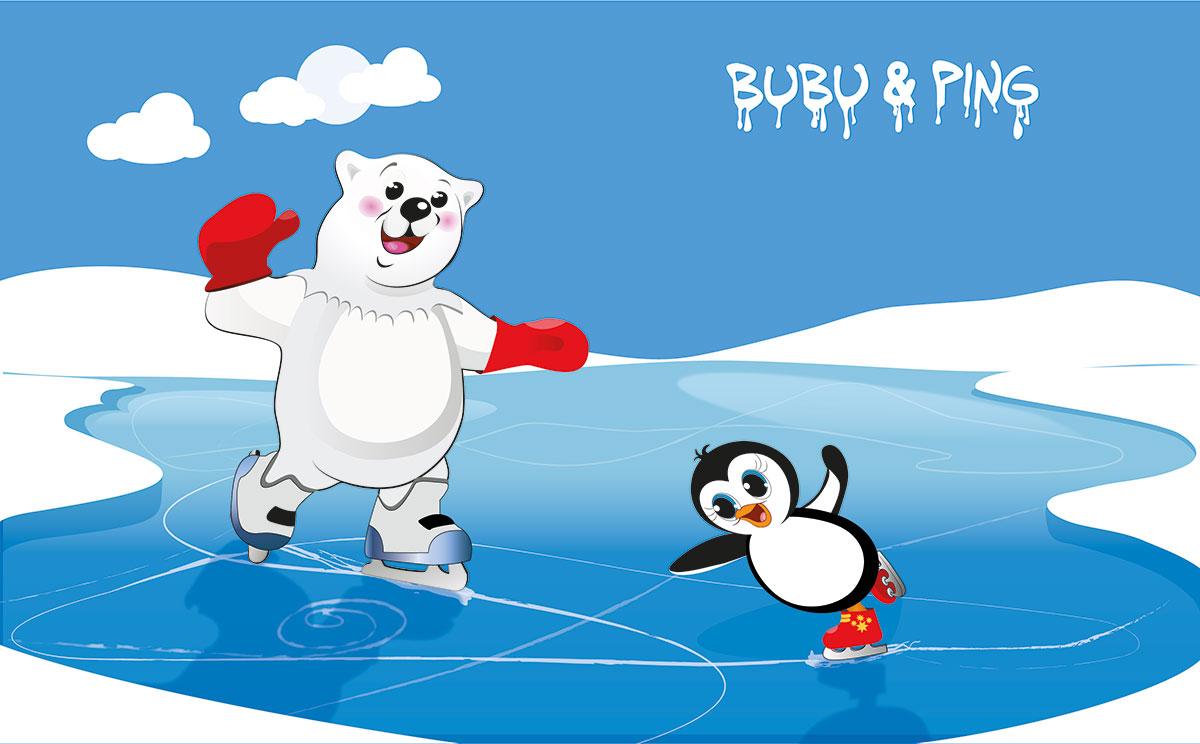 Bubu & Ping beim Eislaufen - Motiv für Bärenland der Firma LikeIce gezeichnet von Gertraud Kirnbauer