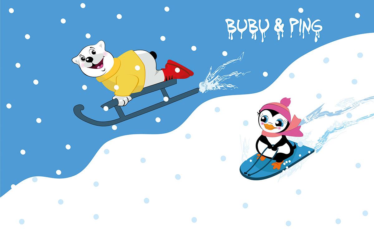 Bubu & Ping beim Schlittenfahren - Motiv für Bärenland der Firma LikeIce gezeichnet von Gertraud Kirnbauer